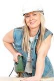 Le jeune femme blond travaille Photos stock