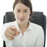 Le jeune femme d'affaires de brunette vous veulent Image libre de droits