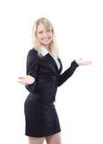Le jeune femme heureux d'affaires a isolé Image stock
