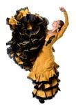 Le jeune flamenco espagnol de danse de femme dans les gens typiques a coupé la queue la robe de robe Photos libres de droits