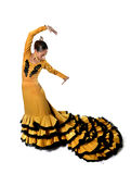 Le jeune flamenco espagnol de danse de femme dans les gens typiques a coupé la queue la robe de robe Photographie stock libre de droits