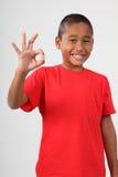 Le jeune garçon d'école noir 9 donne le signe en bon état heureux image libre de droits