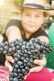 Le jeune garçon drôle posant avec le groupe de raisins dans des mains, le soleil rayonne image libre de droits