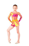 Le jeune gymnaste est dans les collants lumineux Image stock