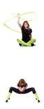 Le jeune gymnaste s'exerçant sur le blanc Image stock