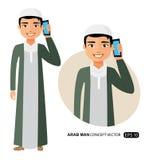 Le jeune homme arabe d'affaires parlant le vecteur de téléphone a isolé illustration stock