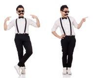 Le jeune homme avec la moustache d'isolement sur le blanc Image stock