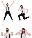 Le jeune homme avec la moustache d'isolement sur le blanc Image libre de droits