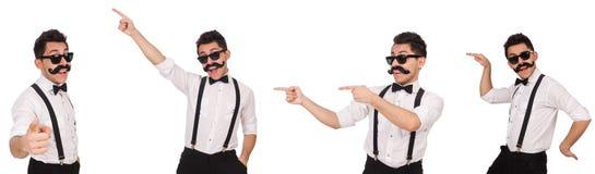 Le jeune homme avec la moustache d'isolement sur le blanc Photographie stock libre de droits