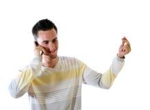 Le jeune homme avec le téléphone Image libre de droits