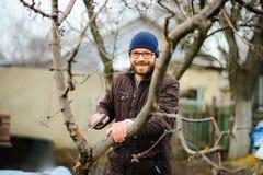 Le jeune homme barbu scie les branches sèches des arbres fruitiers images stock
