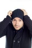 Le jeune homme beau a rectifié dans le bleu Photographie stock libre de droits