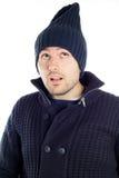 Le jeune homme beau a rectifié dans le bleu Photo libre de droits