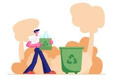 Le jeune homme Carry Bag avec réutilisent le signe plein des déchets en plastique de bouteilles au bac à ordures sur la rue, conc illustration stock