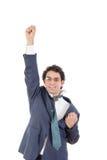 Le jeune homme d'affaires en position de mouche aiment le style de Superman Photo libre de droits