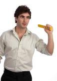 Le jeune homme d'affaires, un faiseur, préparent pour l'action Image stock