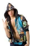 Le jeune homme dans des vêtements de frappeur photos stock