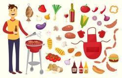 Le jeune homme et le BBQ font la fête des éléments sur le fond blanc Produits BBQ, bifteck, chair de poissons, boeuf, légumes, he illustration stock