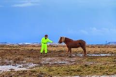 Le jeune homme rencontre le cheval Image libre de droits