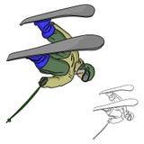 Le jeune homme sautant avec des skis sur le croquis d d'illustration de vecteur de neige Illustration Libre de Droits