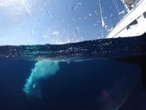 Le jeune homme sautant d'un yacht dans la mer Photo sous-marine photos stock