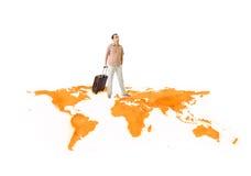 Le jeune homme se déplace autour du monde Image stock