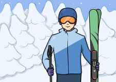 Le jeune homme se tenant avec la montagne skie au fond du sport d'hiver couvert de neige de forêt Illustration de vecteur Image libre de droits