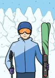 Le jeune homme se tenant avec la montagne skie au fond du sport d'hiver couvert de neige de forêt Illustration de vecteur illustration stock