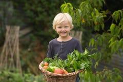 Le jeune jardinier blond montre fièrement sa récolte photographie stock libre de droits