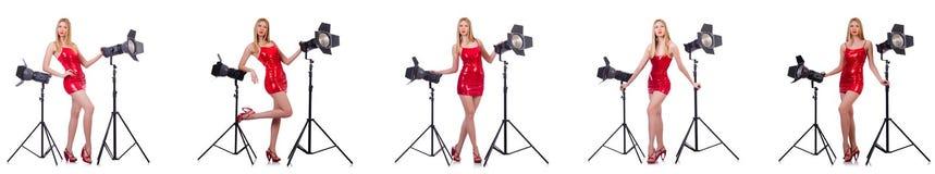 Le jeune modèle pendant le photoshoot dans le studio Image stock