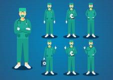 Le jeune vert professionnel de médecins frottent les poils bruns courts uniformes tout l'ensemble de conception de personnages d' Photographie stock