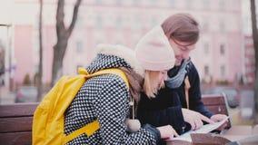 Le jeunes homme et femme de touristes de sourire heureux s'asseyent sur un banc ensemble un jour d'hiver regardant un guide de vo banque de vidéos
