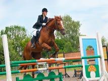 Le jockey saute par-dessus un obstacle Photo libre de droits