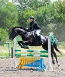 Le jockey saute par-dessus un obstacle Image libre de droits