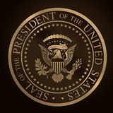 Le joint présidentiel d'or des USA gravent en refief Photos stock