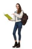 Le joli étudiant jugeant des manuels d'isolement sur le blanc Photo stock