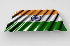 Le joli drapeau brillant de l'Inde avec de grands plis se trouvent d'isolement sur gris - n'importe quelle illustration du drapea illustration de vecteur