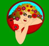 Le joli femme avec le pavot Photographie stock libre de droits