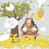 Le joli oiseau et la bande dessinée mignonne soutiennent avec les ballons tenant deux petits lapins Mlle vous design de carte Ele Image libre de droits