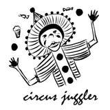 Le jongleur de clown de dessin de photo dans un costume drôle et le chapeau avec des pompons, jongle avec la nourriture délicieus photos stock