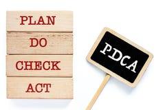 Le jouet en bois avec des mots au sujet de PDCA images libres de droits