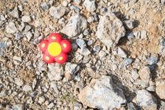 Le jouet rouge sous forme de fleur se trouve sur le sol rocheux perdu images libres de droits