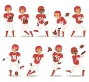 Le joueur d'équipe de baseball dans le jeu uniforme pose l'illustration professionnelle de vecteur de gagnant de caractères de sp Image stock