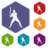 Le joueur de baseball avec des icônes de batte a placé l'hexagone Photographie stock libre de droits