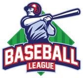 Le joueur de baseball a frappé la boule Photos libres de droits