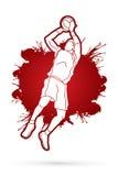 Le joueur de basket sautant et préparent tirer une boule Photo libre de droits
