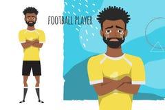 Le joueur de football américain d'africain noir a croisé ses bras et cris Équipe des larmes et la dépression L'émotion de illustration libre de droits