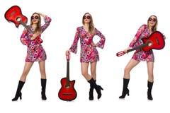 Le joueur de guitare de femme d'isolement sur le blanc Photographie stock