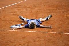Le joueur de tennis de champion Images libres de droits