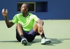 Le joueur de tennis professionnel Gael Monfis pratique pour l'US Open 2014 chez Billie Jean King National Tennis Center Image stock